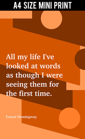 Mini Prints, Looking At Words | Ernest Hemingway | Writer | Mini Print, - PosterGully