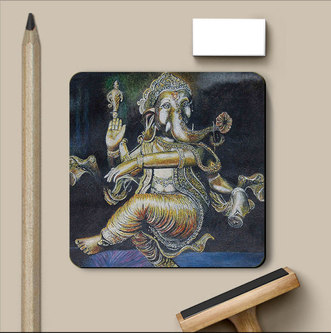 PosterGully Coasters, Lord Ganesha Coaster | Artist: Inithan Ponnuswamy, - PosterGully