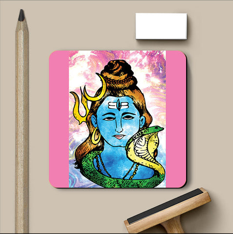 PosterGully Coasters, Lord Shiva Pop Art Coaster | Artist: Pulkit Taneja, - PosterGully