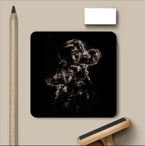 PosterGully Coasters, Lost In Space - Black Coaster | By Captain Kyso, - PosterGully