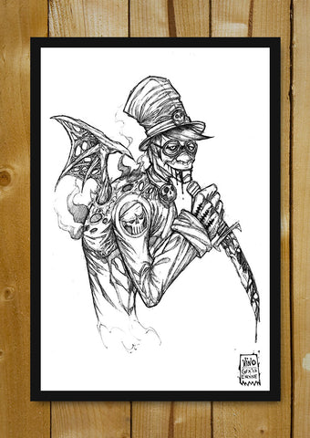 Glass Framed Posters, Mad Hatter Line Art Glass Framed Poster, - PosterGully - 1