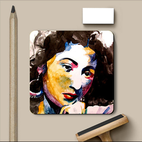 PosterGully Coasters, Madhubala Watercolor Coaster | Artist: Sunanda Puneet, - PosterGully