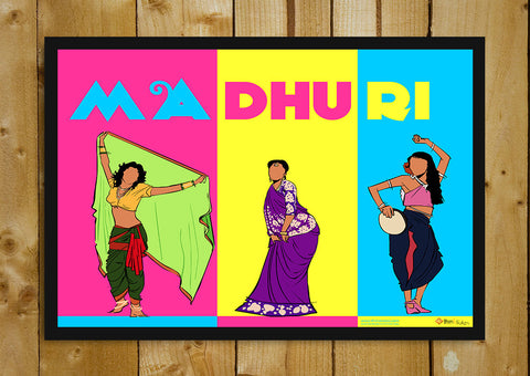 Glass Framed Posters, Madhuri Dixit Pop Art Glass Framed Poster, - PosterGully - 1