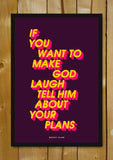 Glass Framed Posters, Make God Laugh Woody Allen Glass Framed Poster, - PosterGully - 1