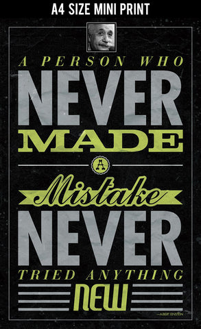 Mini Prints, Make Mistakes | Albert Einstein Quote | Mini Print, - PosterGully