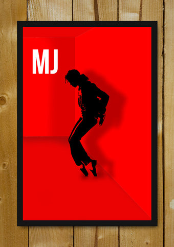 Glass Framed Posters, Michael Jackson Red Artwork Glass Framed Poster, - PosterGully - 1