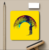 PosterGully Coasters, Midnight Rainbow Painter Yellow Coaster | By Captain Kyso, - PosterGully