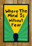 Glass Framed Posters, Mind Without Fear Tagore Glass Framed Poster, - PosterGully - 1