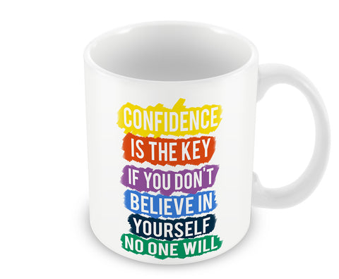 Mugs, Confidence Is The Key Mug, - PosterGully - 1