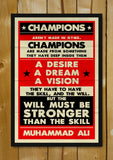 Glass Framed Posters, Muhammad Ali Champions Retro Glass Framed Poster, - PosterGully - 1