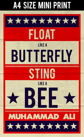 Mini Prints, Muhammad Ali | Float Like A Butterfly Retro | Mini Print, - PosterGully