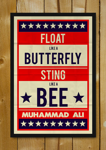 Glass Framed Posters, Muhammad Ali Float Like A Butterfly Retro Glass Framed Poster, - PosterGully - 1