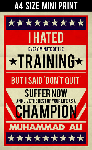 Mini Prints, Muhammad Ali | I Hated Training Retro | Mini Print, - PosterGully