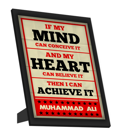 Framed Art, Muhammad Ali | Mind And Heart Retro Framed Art, - PosterGully