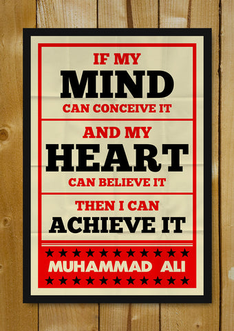 Glass Framed Posters, Muhammad Ali Mind And Heart Retro Glass Framed Poster, - PosterGully - 1