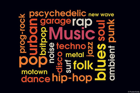 Wall Art, Music Word Cloud, - PosterGully