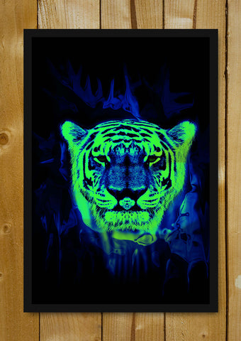 Glass Framed Posters, Neon Tiger Art Glass Framed Poster, - PosterGully - 1