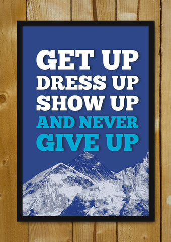 Glass Framed Posters, Never Give Up Motivational Glass Framed Poster, - PosterGully - 1