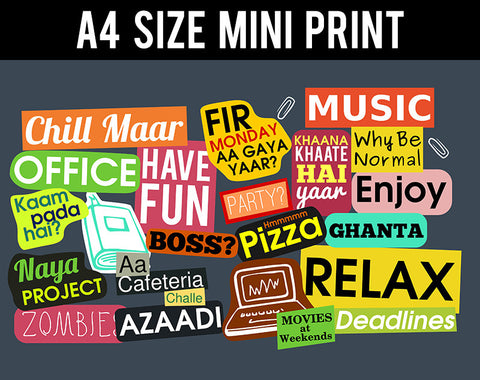 Mini Prints, Office Sticker Collage Humour | Mini Print, - PosterGully