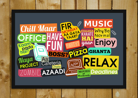 Glass Framed Posters, Office Sticker Collage Humour Glass Framed Poster, - PosterGully - 1