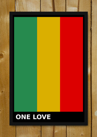 Glass Framed Posters, One Love Bob Marley Glass Framed Poster, - PosterGully - 1