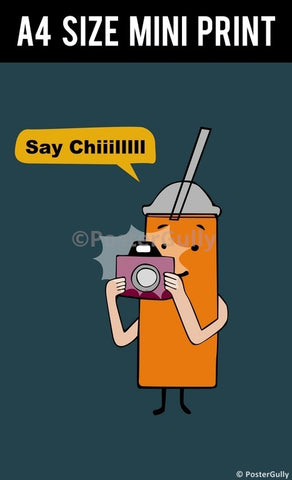 Mini Prints, Orange Juice Camera Humour | Mini Print, - PosterGully