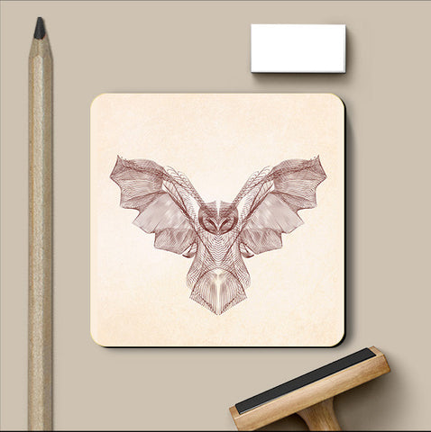 PosterGully Coasters, Owl Symmetric Line Coaster | Artist: Rohit Malhotra, - PosterGully
