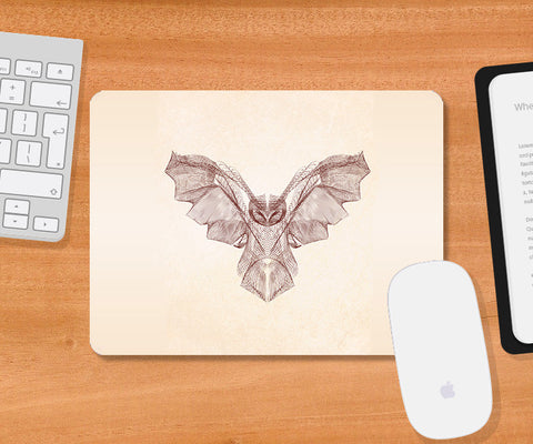 Mousepads, Owl Symmetric Line Mousepad | Artist: Rohit Malhotra, - PosterGully