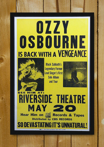 Glass Framed Posters, Ozzy Osbourne Concert Poster Glass Framed Poster, - PosterGully - 1
