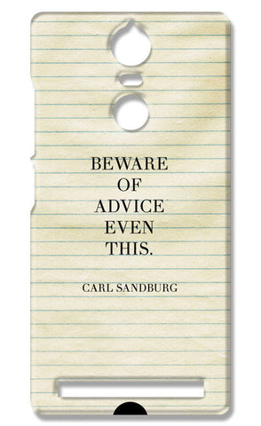 Advice Quote-Carl Sandburg #writers | Lenovo K5 Note Cases