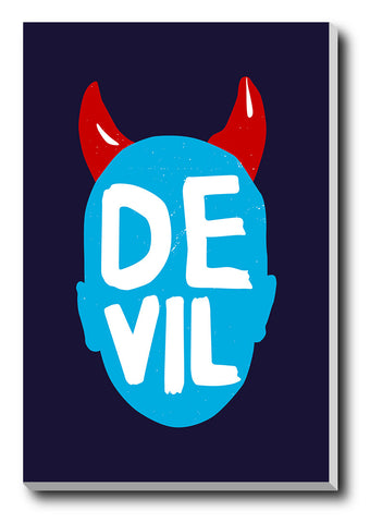 Canvas Art Prints, Devil Horns Stretched Canvas Print, - PosterGully - 1