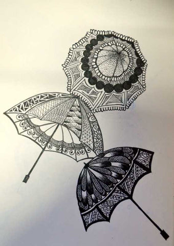 Wall Art, Umbrella Abstract Artwork | Artist: Gauri Chitre, - PosterGully