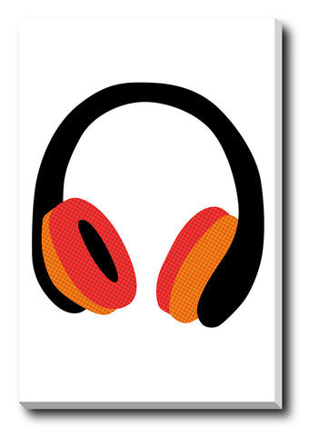Canvas Art Prints, Headphones White Stretched Canvas Print, - PosterGully - 1