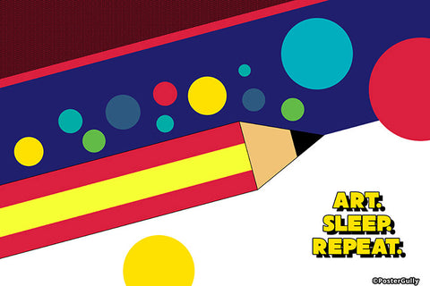 Wall Art, Art Sleep Repeat, - PosterGully - 1