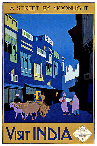 Wall Art, Visit India - A Street By Moonlight, - PosterGully