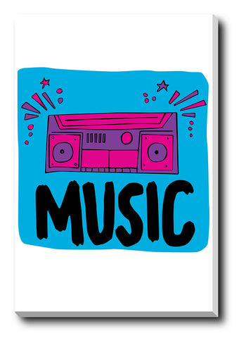 Canvas Art Prints, Music Boombox Stretched Canvas Print, - PosterGully - 1