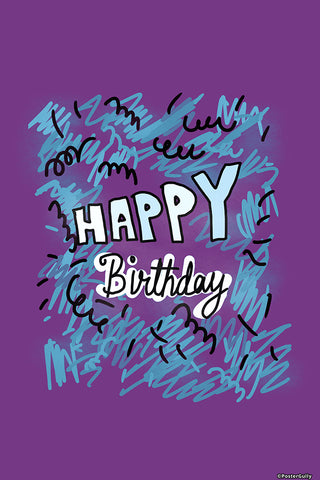 Brand New Designs, Happy Birthday Purple, - PosterGully - 1
