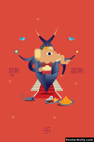 Wall Art, Subh Labh Ganesha Artwork | Artist: Deepikah Bhardwaj, - PosterGully