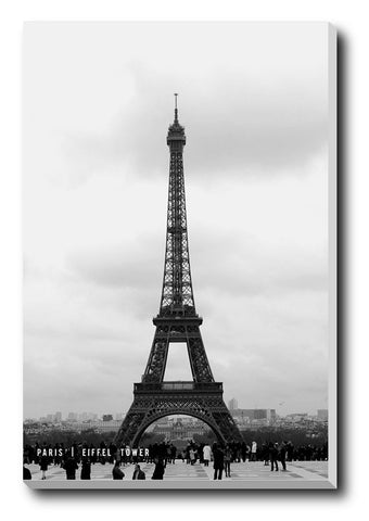 Canvas Art Prints, Eiffel Tower B & W Stretched Canvas Print, - PosterGully - 1