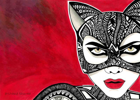 Brand New Designs, Abstract Cat woman Artwork | Artist: Archana Bhurke, - PosterGully