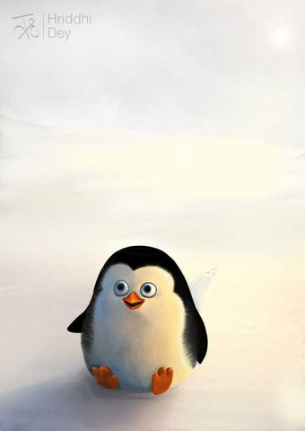 Brand New Designs, Baby Penguin In The Snow Artwork | Artist: Hriddhi Dey, - PosterGully