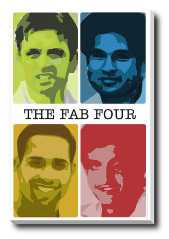 Canvas Art Prints, Sachin Saurav Laxman Dravid  Fab Four Stretched Canvas Print, - PosterGully - 1