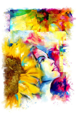 Brand New Designs, Girl With Flower Painting Artwork  | Artist: Pradeesh K, - PosterGully