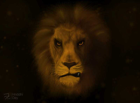 Wall Art, Lion Artwork | Artist: Hriddhi Dey, - PosterGully