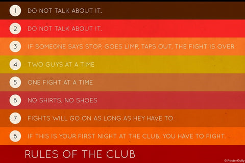 Wall Art, Rules Of The Club | Fight Club, - PosterGully