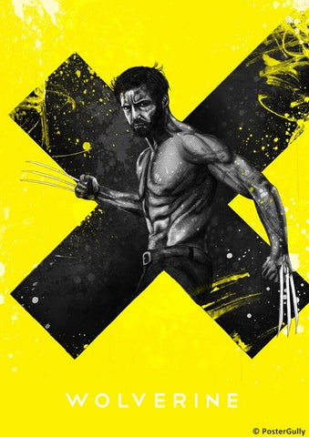 Wall Art, Wolverine | Yellow Artwork, - PosterGully