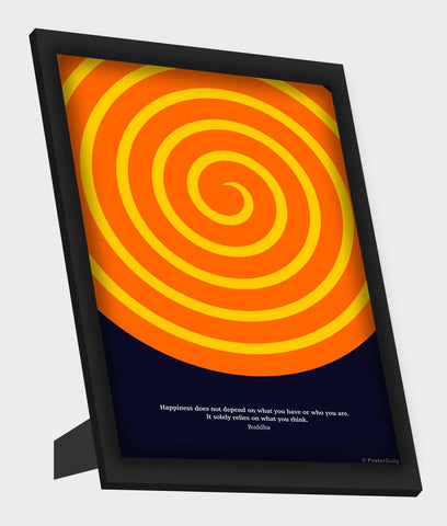 Framed Art, Happiness Buddha Quote Framed Art, - PosterGully