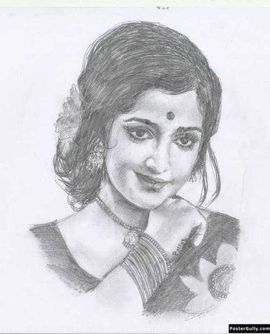 Wall Art, Hema Malini | Sketch Artwork | Artist: Pallab Bhowmik, - PosterGully