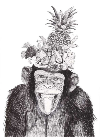 Wall Art, Chimpanzee Sketch Artwork | Artist: Vinayak Dasari, - PosterGully