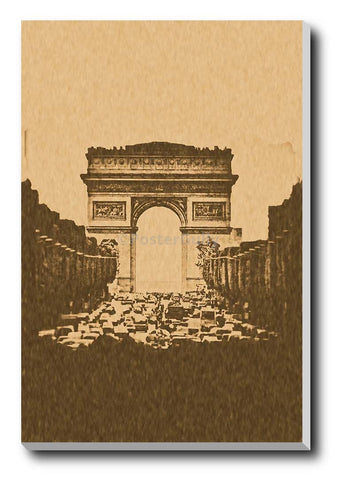 Canvas Art Prints, Arc De Triomphe Paris | Sepia Stretched Canvas Print, - PosterGully - 1